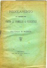 L'applicazione della tassa di famiglia o fuocatico nella Provincia di Modena (Re