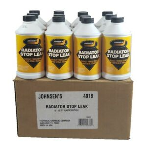 Johnsens Radiator Stop Leak Quickly finds Leaks & Seal Them USA 12oz -12 Bottle