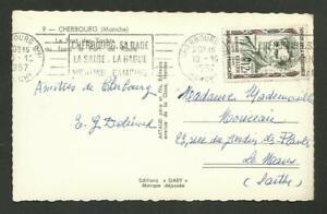 12F RESISTANT KELLER SEUL/ CARTE LETTRE CHERBOURG 10.1957 P/ LE MANS