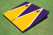 Yellow And Purple Matching Triangle Custom Cornhole Board - Aat-1260