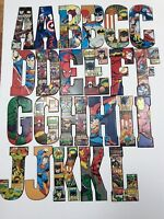 MARVEL/DC COMICS SUPERHEROES METAL LETTERS (PICK LETTERS) BUY 5, GET 1 FREE