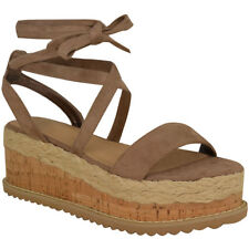 Womens Ladies Wedge Flat Espadrille Lace Tie Up Sandals Platform Summer Shoes