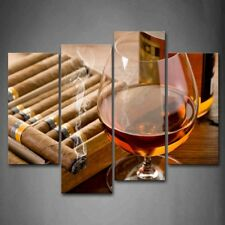 Framed Liquor Cup Cigar Wall Art Decor Painting Print On Canvas Drink Picture