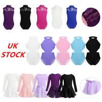 UK Girls Kids Gymnastics Leotard Ballet Dance Dress Unitard Lace Splice Jumpsuit