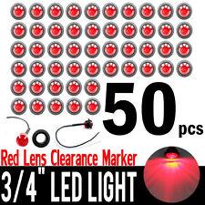 "50x Mini 3/4"" Red LED Clerance Bullet Marker Lights Lamps For Truck Trailer Bus"