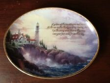 THOMAS KINKADE CLEARING STORMS OVAL  PLATE. LIGHTHOUSES DECOR