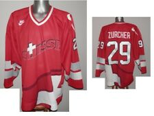 Rare Suisse Switzerland Team Zurcher #29 L/S HOCKEY SHIRT TRIKOT JERSEY Nike - L