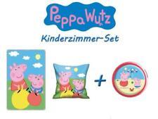 Peppa Wutz Kinderzimmer-Set (Kissen & Fleece-Decke + Drücklicht rot) Pig NEU