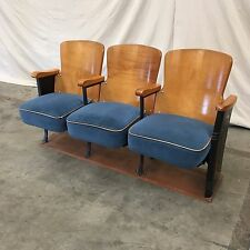Three Vintage Theater Seats with Connected Base