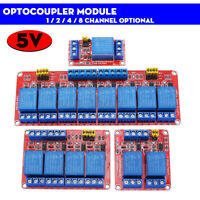 5V 1 / 2 / 4 / 8 Channel Relay High Low Level Optocoupler Module