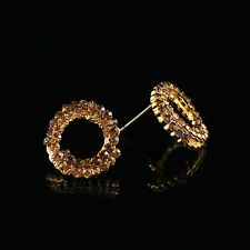 18k Gold GF with Swarovski elements round crystals stud hoop earrings