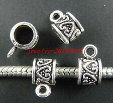 80pcs Tibetan Silver Heart Design Big Hole Bails 11x6.5x7mm 11670