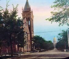 """RESIDENCE ST IN DENVER COLO  HAND TINTED GLASS SLIDE 3 1/4""""x4"""" EARLY1900 #G38"""