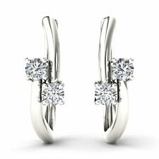10k White Gold 0.33 Ct Brilliant Round Cut Diamond Two-Stone Hoop Earrings
