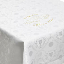 Gold Embroidery Hebrew Calligraphy of Shabbat Tablecloth 138-inch Tablecloth