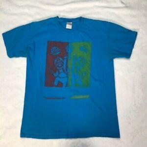Super Mario Bros Mario and Luigi Gildan Blue T-Shirt Men's Medium