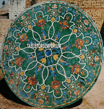 """24"""" Green Marble Pietra Dura Top Coffee Table Floral Mosaic Inlay Hallway"""