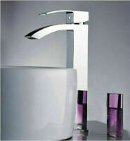 Silver Waterfall Spout Bathroom Vanity Basin Sink Mixer Faucet Single Hole Taps