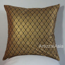 1 BLACK Beige & GOLD COTTON BATIK THROW PILLOW COVER SQUARE 45x45cm OR 18x18in