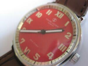 "Vintage Favre-Leuba Geneve ""Sea Chief Gentleman's Mechanical Watch - Red Dial"
