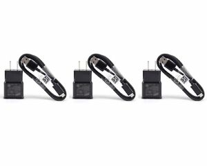 3X Black Wall Chargers Micro USB Cable+Adapter For Android Phones OEM Quality