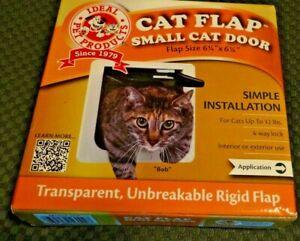 "New Ideal Pet Prod 6.5""x 6.5"" Small Cat Door 4 Way Lock Flap White Int/Ext 12LBS"