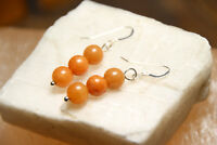 Agate 8mm Brown Ball Natural Gemstone Earrings 925 Sterling Silver Hooks
