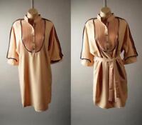 Stand Collar Pintuck Pleat Bib Yoke Work Office Shift Shirt 275 mv Dress S M L