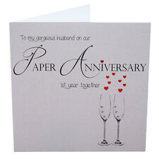 1st Paper Wedding Anniversary Husband Card Handmade with Crystals
