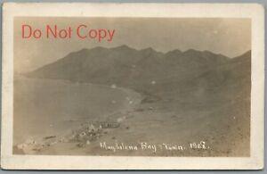 MAGDALENA BAY & TOWN - 1908 GREAT WHITE FLEET RPPC POSTCARD - SAILOR MESSAGE