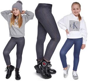 Girl's Comfortable Full Length Leggings Denim Look Jeans Imitation Pants FS6971