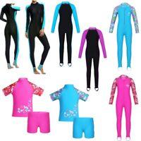 Girls Long Sleeves Rash Guard Swimsuit Swimwear Bathing Suit Wetsuit Beachwear