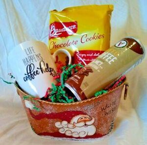 Christmas Holiday Coffee Candle Cookie Santa Gift Basket