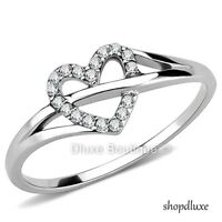 Women's Girls Stainless Steel CZ Forever Love Heart Fashion Promise Ring Sz 5-10
