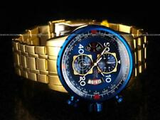 Invicta Men's 48mm Aviator Chronograph Furnace Blue 18K GIP SS Bracelet Watch