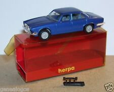 MICRO HERPA HO 1/86 1/87 JAGUAR XJ 6 12 BLEU METAL in BOX
