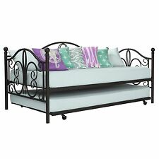 Bronze Iron Metal Daybed Frame with Trundle Twin Size Bed Bunk Antique Furniture