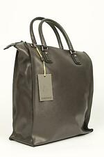 Canali NWT Gray Grey 100% Leather Large Zip Up Tote Bag Shoulder Carry-On