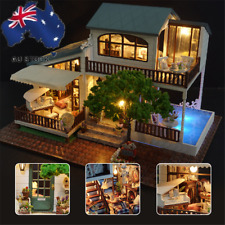 AU!! Miniature Doll House Furniture LED Light DIY Kit Dolls Toy House Box Gifts