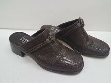Premier Aries Brown Woven Leather Slip On Mules Shoes 8B Used