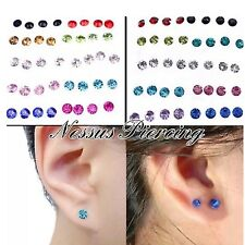 CZ colourful hypoallergenic bioflex earrings piercing ear studs no metal 4 sizes