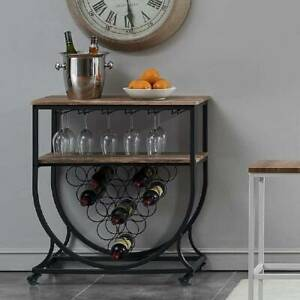 Metal Wooden Wine Rack Bottle Storage Cabinet Stand Shelf with Glass Holder Home