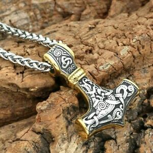 Sturdy Viking/Mjolnir/Thor's Hammer Stainless Steel Silver/Gold Pendant Necklace