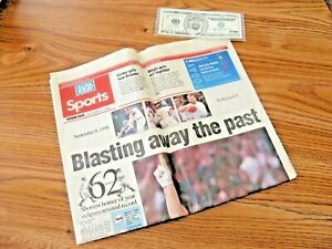 "'98 St. Louis CARDINALS - McGwire ""Blasting Away"" USA Today w/ $70 Dollar BILL !"