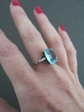 Vintage Art Deco Silver Aquamarine Paste Ring