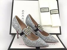 8a3012e1b06 GUCCI Virginia Crystal Embellished Silver Glitter Pointy Toe Pump 39 9