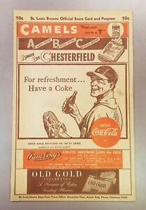 1946 St. Louis Browns Score Card Program vs Cleveland Indians