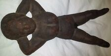 Vtg Antique Cast Iron Man Cave Boot Jack Pull Risque' Busty Nude Woman Door Stop