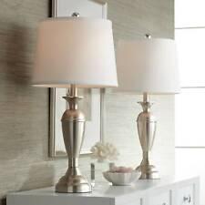 Modern Table Lamps Set of 2 Brushed Steel for Living Room...