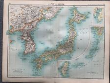 1902 JAPAN & KOREA ANTIQUE COLOUR MAP BY JOHN BARTHOLOMEW